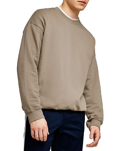 Topman Classic Fit Washed Dropped Shoulder Sweatshirt-BLACK-Large 89988488_BLACK_Large