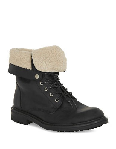 Topman Harvey Leather Fold-Down Boots-BLACK-46