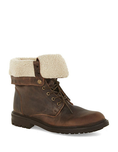 Topman Harvey Leather Fold-Down Boots-BROWN-42