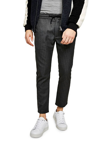 Topman Classic Fit Pinstripe Joggers-GREY-36