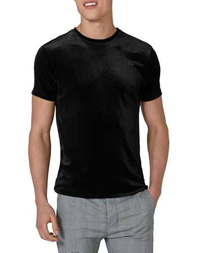 Topman Muscle Fit Velour T-Shirt-BLACK-X-Large