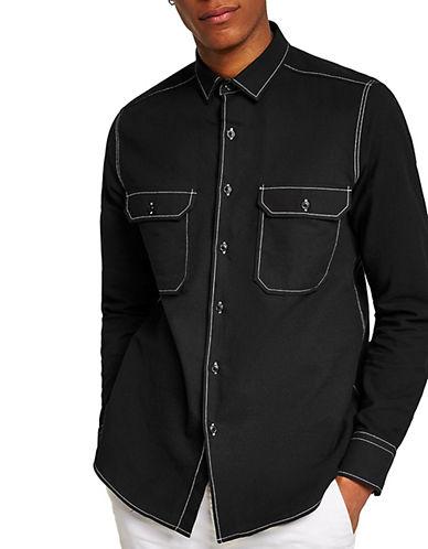 Topman Top Stitch Sport Shirt-BLACK-Medium 90095054_BLACK_Medium