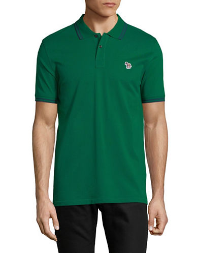 Ps By Paul Smith Zebra Patch Cotton Polo-GREEN-Small