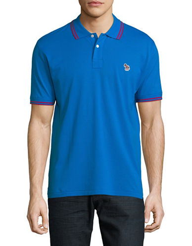 Ps By Paul Smith Zebra Patch Cotton Polo-BLUE-Large