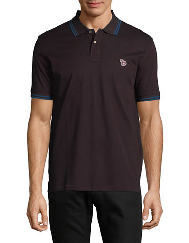 Ps By Paul Smith Zebra Patch Cotton Polo-RED-Small