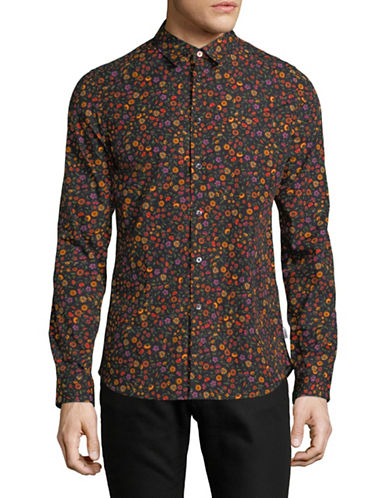 Ps By Paul Smith Slim-Fit Floral Cotton Sport Shirt-BLACK-Large