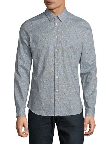 Ps By Paul Smith Floral Cotton Sport Shirt-BLUE-X-Large