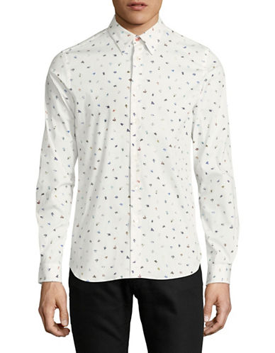 Ps By Paul Smith Bird-Print Cotton Sport Shirt-WHITE-Small
