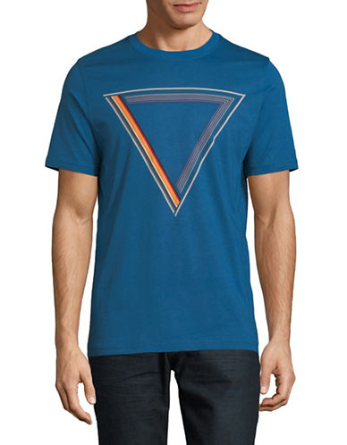 Ps By Paul Smith Multi-Stripe Triangle Cotton T-Shirt-BLUE-Small