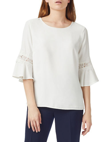 Precis Petite Lace-Trim Blouse-WHITE-UK 10/US 8