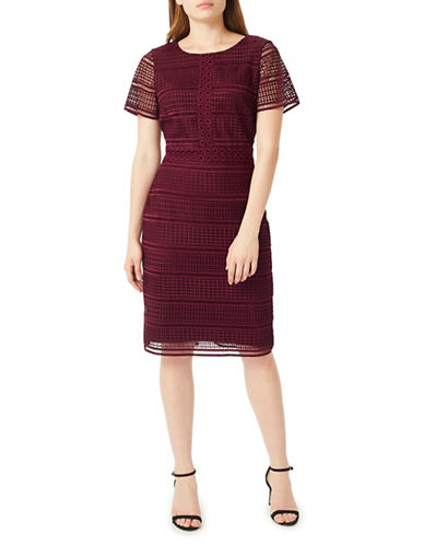 Precis Petite Petite Geo Lace Sheath Dress-RED-UK 18/US 16