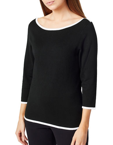 Precis Petite Three-Quarter Sleeve Tipped Sweater-BLACK-X-Small