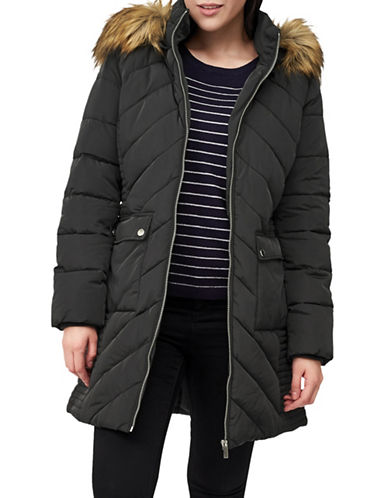 Precis Petite Petite Faux Fur-Trimmed Quilted Coat-GREY-UK 14/US 12