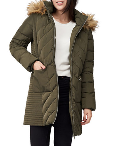 Precis Petite Petite Faux Fur-Trimmed Quilted Coat-GREEN-UK 12/US 10