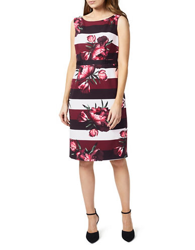 Precis Petite Petite Floral Striped Tulip Dress-MULTI-UK 10/US 8