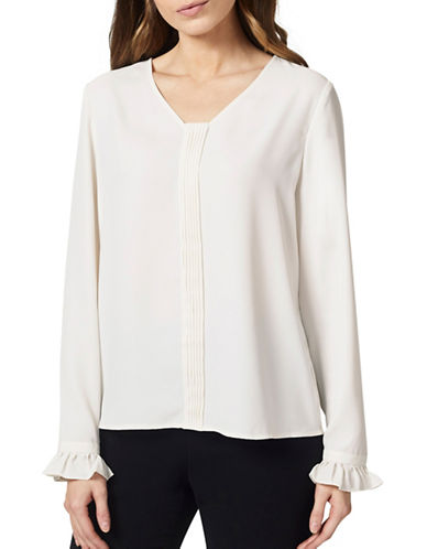 Precis Petite Pintuck Blouse-WHITE-UK 16/US 14