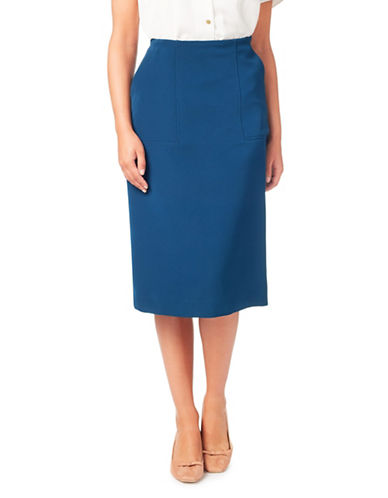 Eastex Banded Pencil Skirt-BLUE-UK 16/US 14
