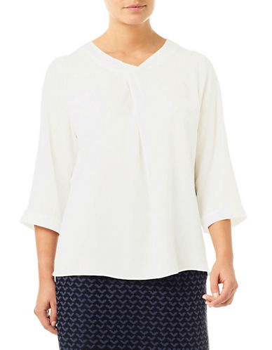 Eastex Three-Quarter Sleeve Blouse-WHITE-UK 12/US 10