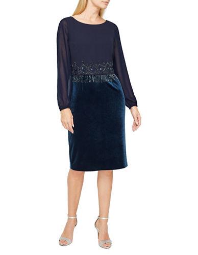 Jacques Vert Velvet Cocktail Dress-BLUE-UK 8/US 6