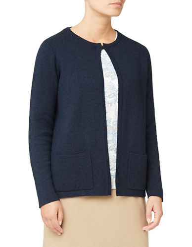 Eastex Merino Wool-Blend Open Cardigan-NAVY-UK 20/US 18