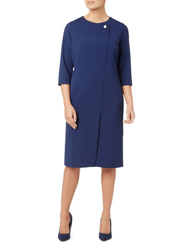 Eastex Button Neck Asymmetric Dress-BLUE-UK 12/US 10