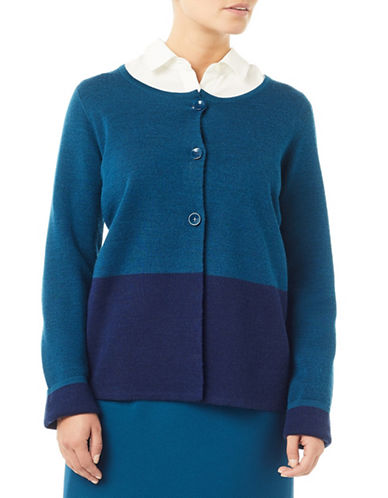 Eastex Colourblock Knit Cardigan-BLUE-UK 20/US 18