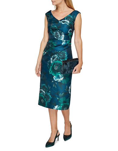 Jacques Vert Jacquard Sleeveless Dress-BLUE-UK 8/US 6