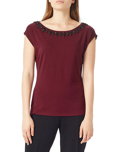 Precis Petite Petite Embellished Cap-Sleeve Tee-DARK RED-Small