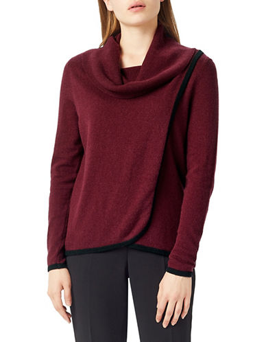 Precis Petite Wool-Blend Long Sleeve Top-RED-Large