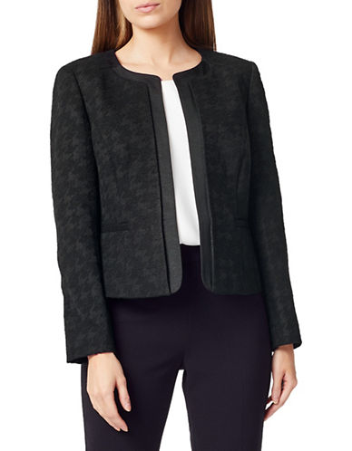 Precis Petite Petite Houndstooth Open-Front Jacket-BLACK MULTI-UK 10/US 8