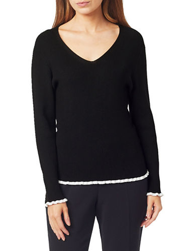 Precis Petite Petite Frill Trim V-Neck Sweater-BLACK-X-Large