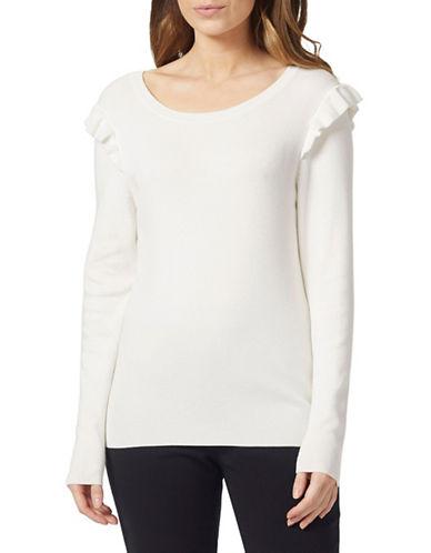Precis Petite Petite Ruffle Shoulder Sweater-IVORY-X-Large