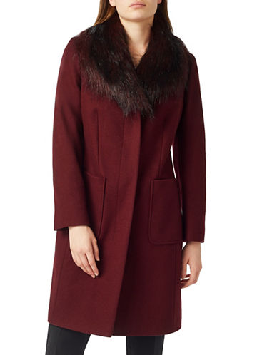 Precis Petite Petite Macey Faux-Fur Trim Wool-Blend Coat-DARK RED-UK 6/US 4