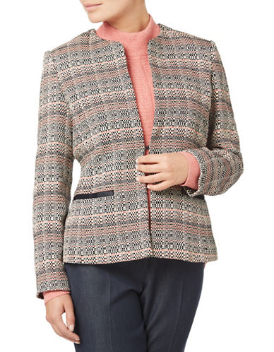 Eastex Contrast Tipped Tweed Jacket-MULTI-UK 18/US 16