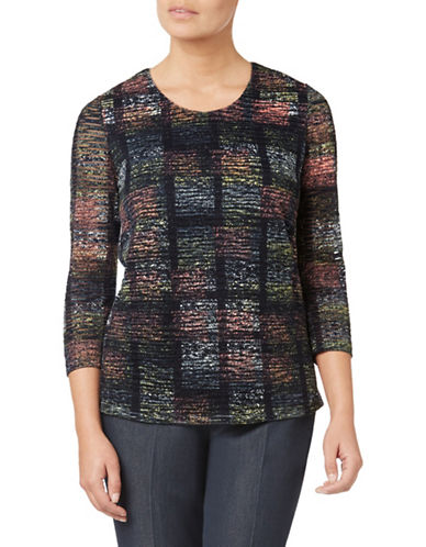 Eastex Stippled Check Jersey Top-MULTI BLACK-UK 12/US 10