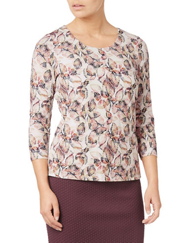 Eastex Leaf Print Jersey Top-MULTI-UK 20/US 18