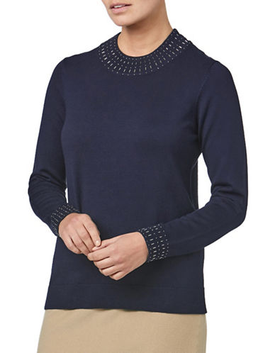 Eastex Beaded Turtleneck Jumper-NAVY-UK 12/US 10