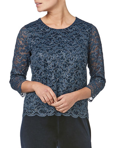 Eastex Sparkle Lace Top-BLUE-UK 10/US 8