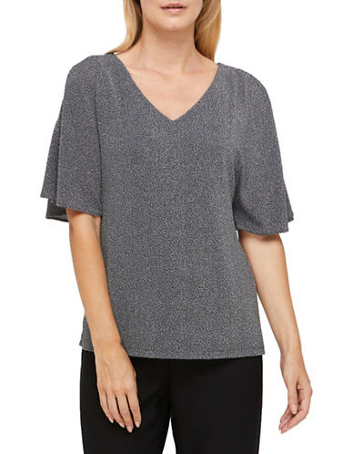 Jacques Vert Alanna Sparkle Jersey Cold Shoulder Top-DARK GREY-Medium