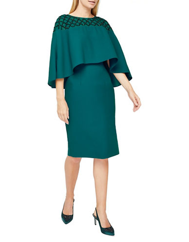 Jacques Vert Cape Dress-GREEN-UK 16/US 14