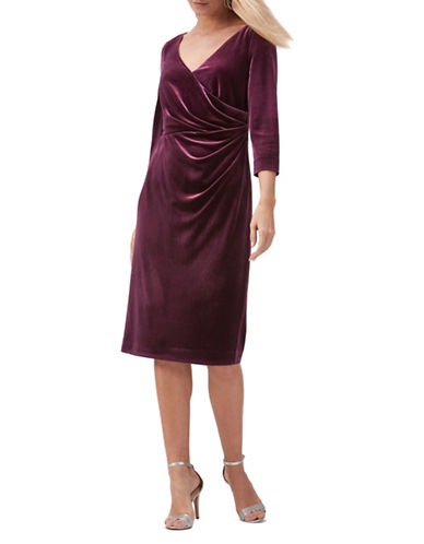 Jacques Vert Velvet Wrap Dress-DARK RED-UK 8/US 6