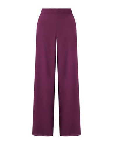 Jacques Vert Rosa Pleat Chiffon Trousers-RED-UK 10/US 8