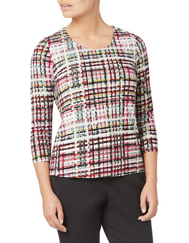 Eastex Multi-Coloured Check Top-MULTI GREY-UK 14/US 12