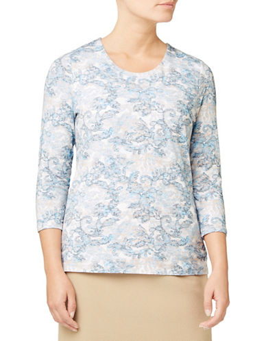 Eastex Printed Three-Quarter Sleeve Top-MULTI CREAM-UK 20/US 18