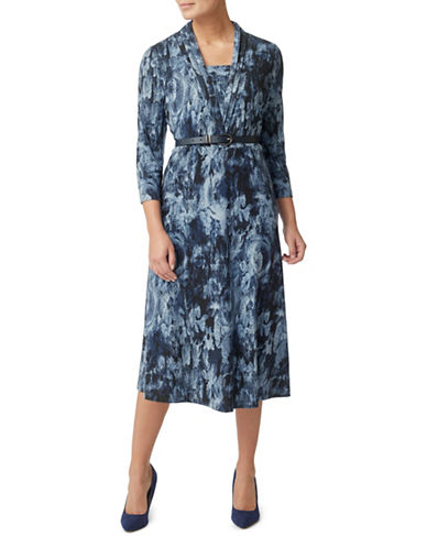 Eastex Tapestry Print Jersey Dress-NAVY-UK 20/US 18