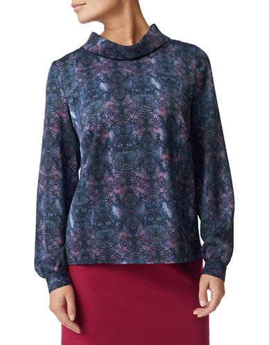 Eastex Nova Spot Cowl Neck Blouse-MULTI NAVY-UK 10/US 8