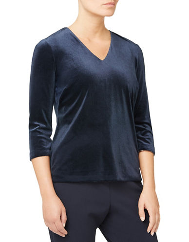 Eastex Velvet V-Neck Top-BLUE-UK 10/US 8