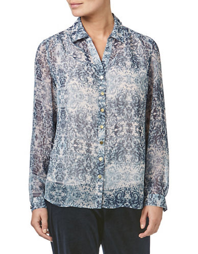 Eastex Tapestry-Print Lurex Blouse-BLUE-UK 10/US 8
