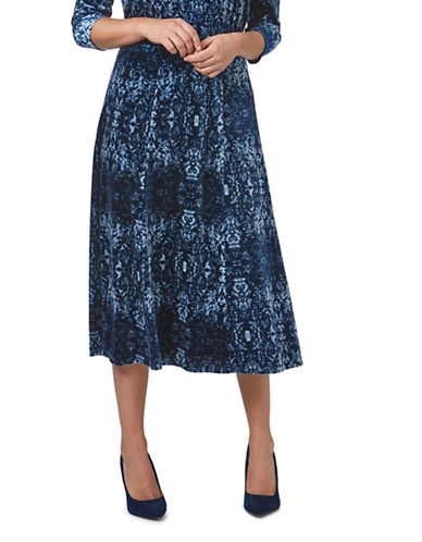 Eastex Velvet Tapestry Skirt-BLUE-UK 14/US 12