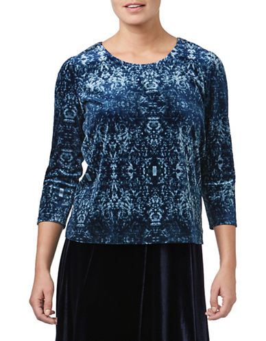 Eastex Velvet Tapestry Top-BLUE-UK 14/US 12
